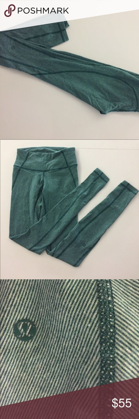Mint Green Lululemon leggings Almost new, mint green lululemon leggings. Open to offers!! Want to sell quick:) super soft, super comfy, pinstripe design lululemon athletica Pants Leggings