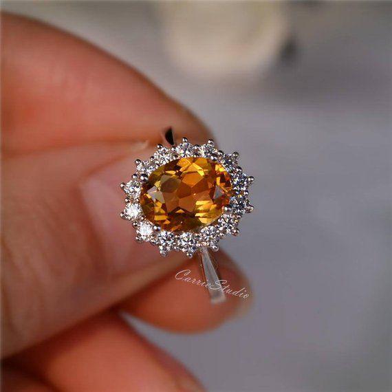7667f1fda65ef Royal Style Natural Citrine Ring Citrine Engagement Ring/ Wedding ...
