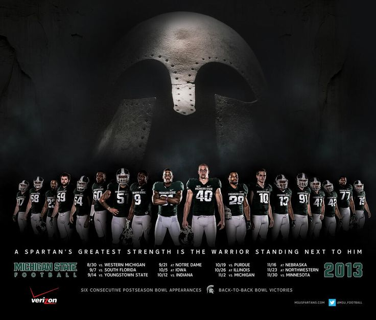 Michigan State Football 2013 Schedule Poster