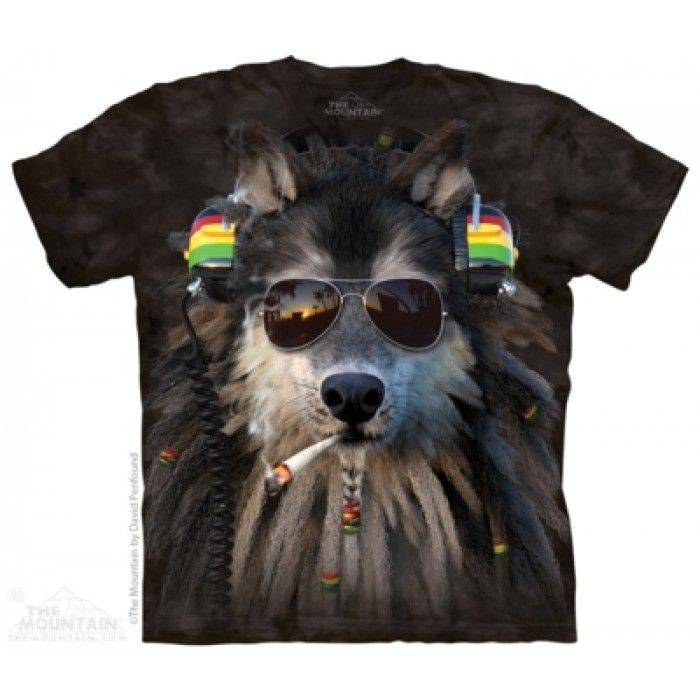 Tricouri The Mountain – Tricou Smokin Rasta Wolf