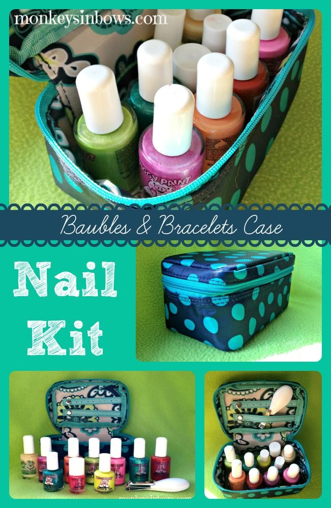Organized Nail Polish Kit, Using the Baubles & Bracelets Case from Thirty-One ~~~~~~ www.monkeysinbows.com