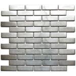 Large Brick Pattern Mosaic Stainless Steel Tile  EMT_037-SIL-SM $15