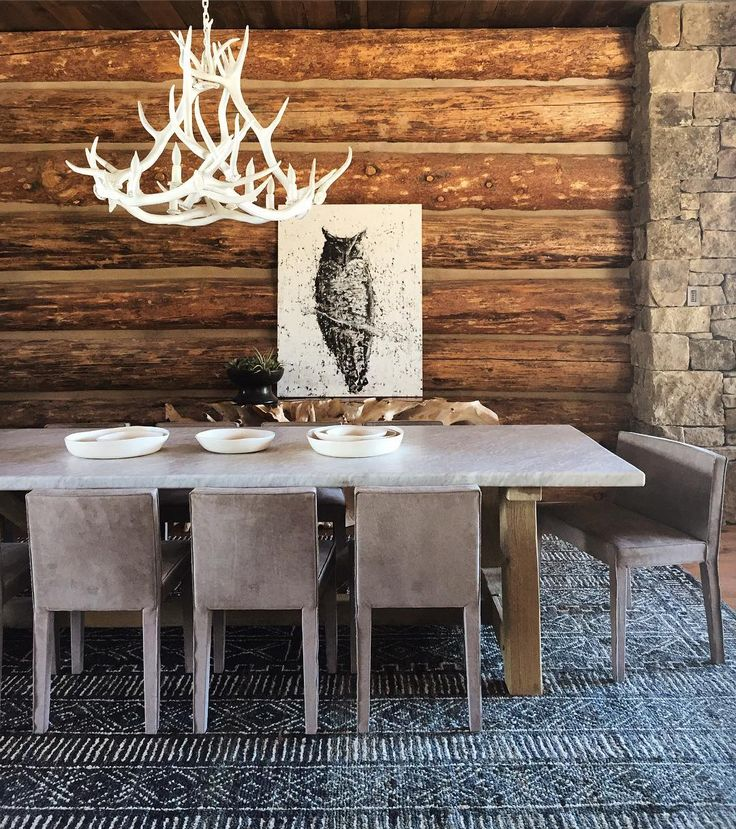 Love The Rustic Cabin Vibe And Shed Antler Chandelier.