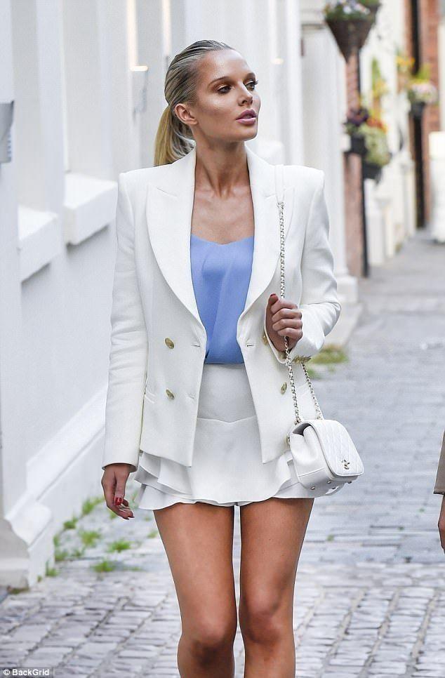 Helen Flanagan.. Pierre Balmain Off-White Classic Fitted Blazer, Valentino Rockstud heels, and Chanel purse..... - Celebrity Fashion Trends