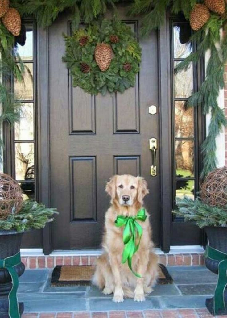 Cute Green Christmas Front Porch