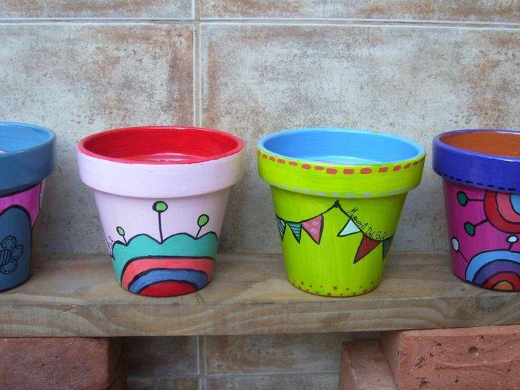 Macetas Pintadas Y Decoradas A Mano - Diseños Únicos!! - $ 65,00 ...