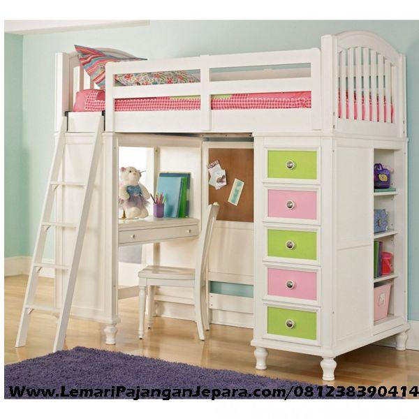 Harga Tempat Tidur Tingkat Multifungsi merupakan Produk Mebel asli Jepara dengan Desain Tempat Tidur Untuk Anak terdapat Meja Belajar, Lemari Buku & Pakaian