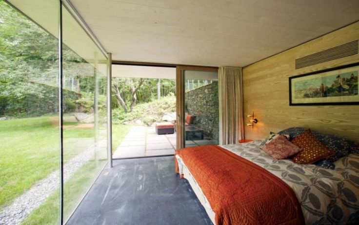 Home Design Contemporary Bedroom Decorating Ideas A Yard View Outside And The Glass Wall Also A Private Terrace Inside And The Orange Bedcover Country Rural Home Designs Plans with Open Floor Plan