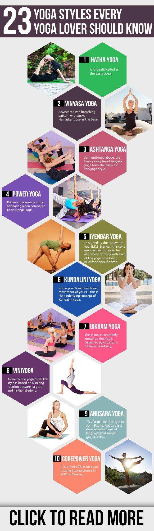 23 Yoga Styles Every Yoga Lover Should Know. www.yogatraveltree.com #findyouryoga #yoga #hatha #vinyasa #ashtanga #poweryoga #iyengar