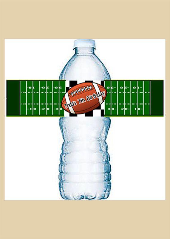 Football Water Bottle Labels Water Bottle by MoonLitPrintables