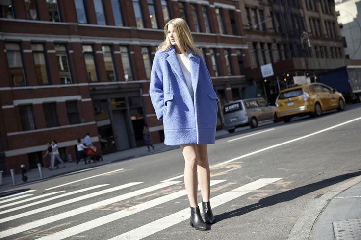 LOOKAST CHAPTER #5 - 2014 fall winter in New York_ Sky blue zipper detailed coat