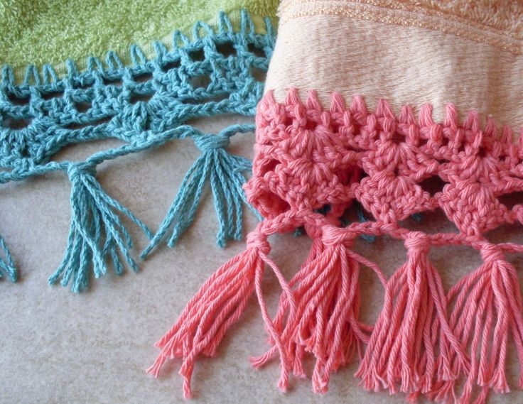 TOALLAS Y CROCHET embroidered hand towels Liston woven crochet