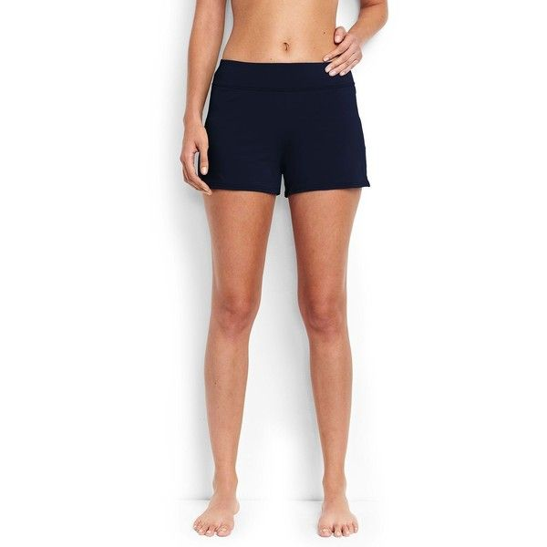 Lands' End Women's Petite Swim Shorts - Beach Living - Slimming ($55) ❤ liked on Polyvore featuring swimwear, blue, slimming bathing suits, swimming costume, petite swimwear, slimming swim suits and lands end swimwear