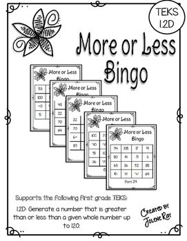 More or Less Bingo: One More, One Less, Ten More, Ten Less