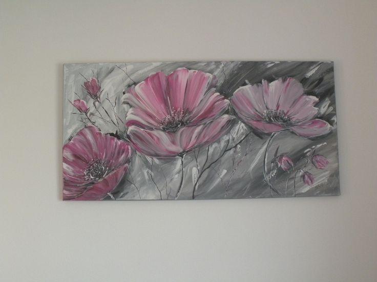 harmonie de fleurs tons gris rose et aluminium peintures par brigitte schutten bricolage. Black Bedroom Furniture Sets. Home Design Ideas