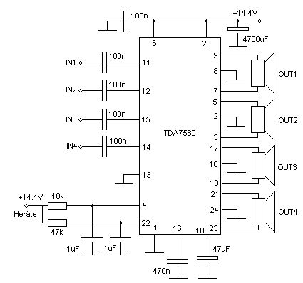 tda7560 audio amplifier circuit schematic