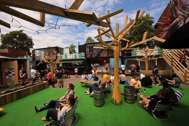 People's Garden, a beer garden overlooking the entrance of the Peoples Market in Collingwood, Melbourne.