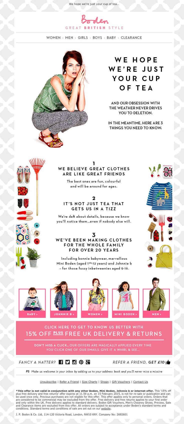 Welcome email from boden love the laydown and categories for Boden newsletter