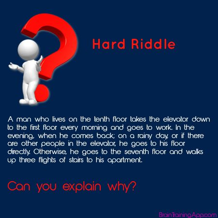 Answer here: http://braintrainingapp.com/forum/index.php?p=/discussion/11/hard-riddle-a-man-who-lives-on-the-tenth-floor#latest