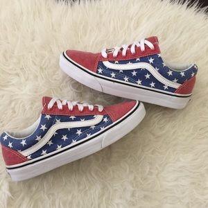 I just added this to my closet on Poshmark: Old Skool van doren American flag vans. Flag vans.. Price: $28 Size: 7.5