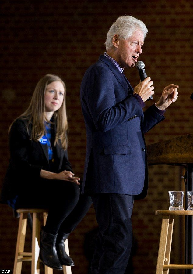 Chelsea and Bill Clinton have hit the road to campaign for Hillary Clinton, now the Democratic front-runner for the presidency. Here they ar shown in Des Moines, Iowa, on Saturday