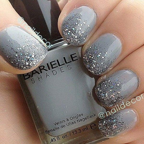 Dark Gray & Glitter Gradient Nails. Nail Design, Nail Art, Nail Salon, Irvine, Newport Beach