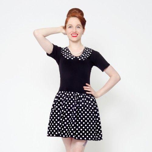 black polka dot peter pan collar dress retro 60's vintage pin up