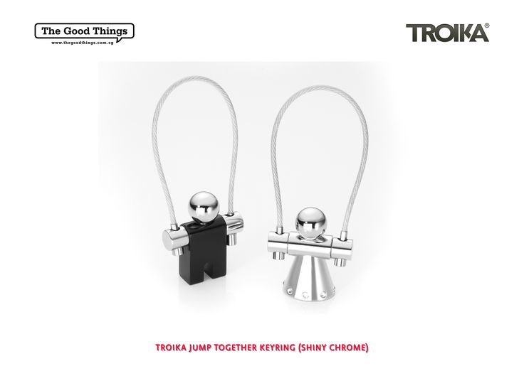 TROIKA JUMP TOGETHER KEYRING (SHINY CHROME).    Perfect couple keyring for those set of special keys.   A pair of keyrings consisting of JUMPER (shiny black) & ANGEL STAR (shiny chrome plated, made with Swarovski elements).   #tgt #thegoodthings #troika