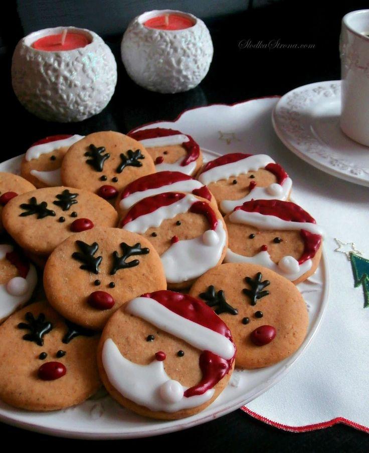 bożonarodzeniowe ciasteczka z mikołajem i reniferami