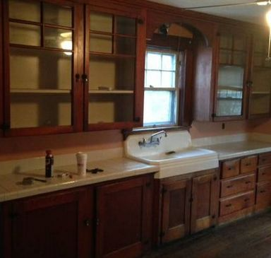 1930s | kitchen cabinets | glass front doors