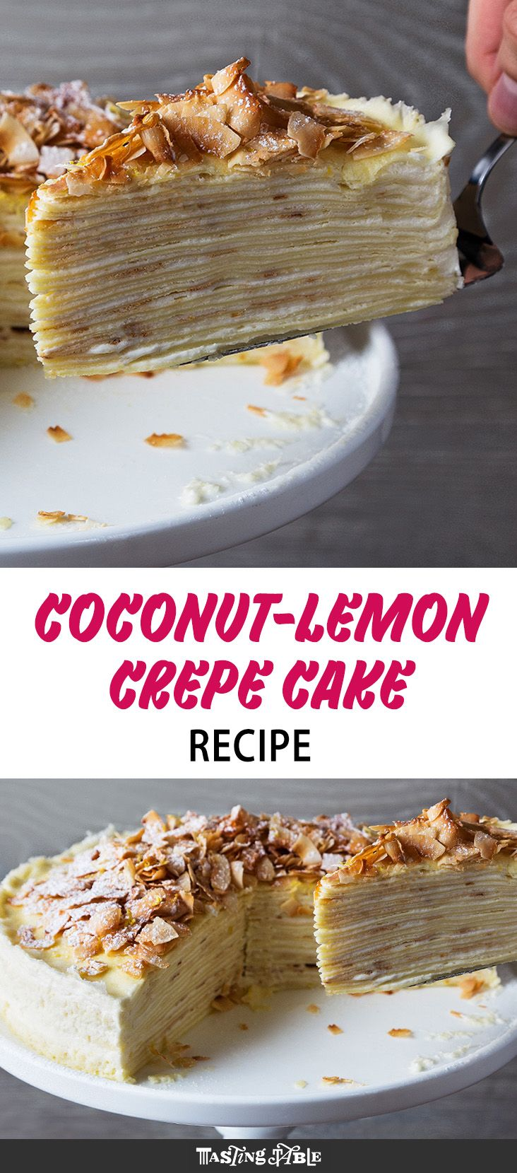 Paper-thin crepes are layered with a rich frosting made of whipped coconut cream, mascarpone and lemon zest for a bright and stunning spring cake.