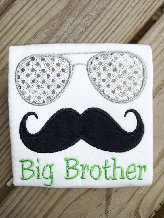 Personalized Aviator Mustache Big Brother Shirt or by babymodern, $24.95