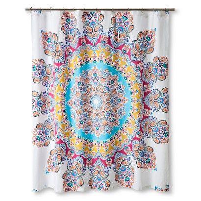 Ecom Shower Curtain Boho Boutique Medallion Multi-colored