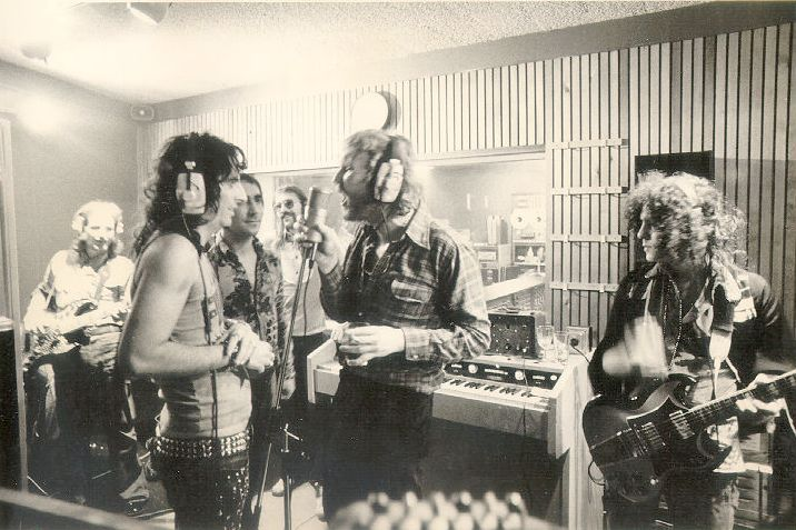 In the studio with Alice Cooper is Nilsson (mic in one hand, drink in the other) Keith Moon and Marc Bolan, during Cooper's 1972 Billion Dollar Babies sessions - neither Harry or Moon were credited on the album, so it's possible they just showed up to raid the deli tray