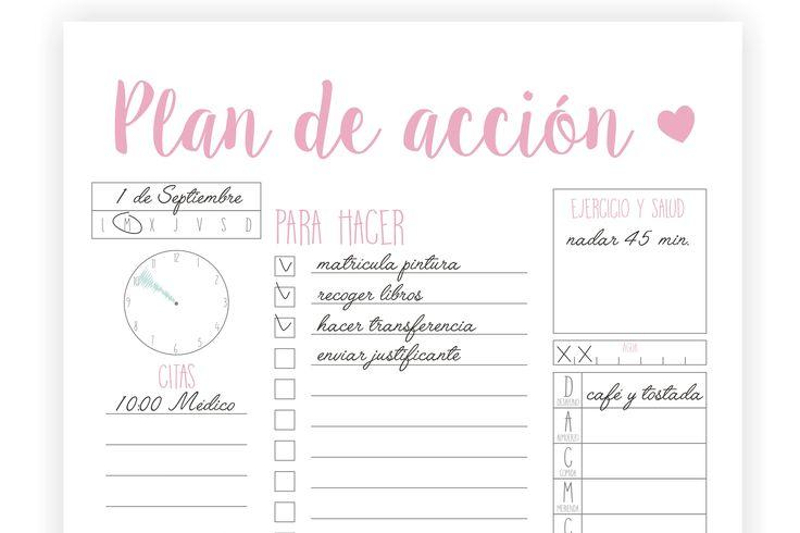 Imprimibles – Agenda – Plan de acción   Repostería creativa y Tienda online