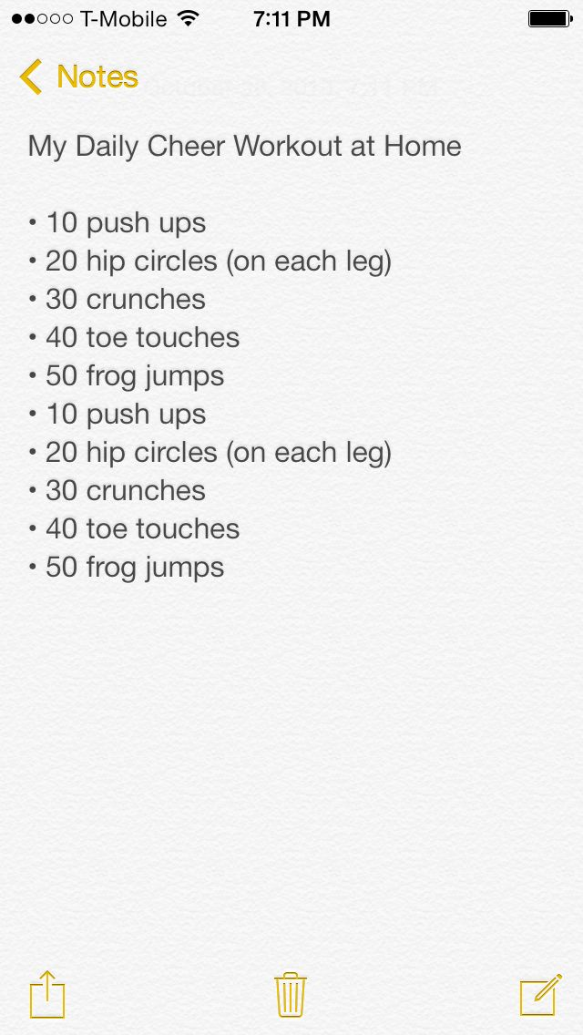 My daily cheer workout at home