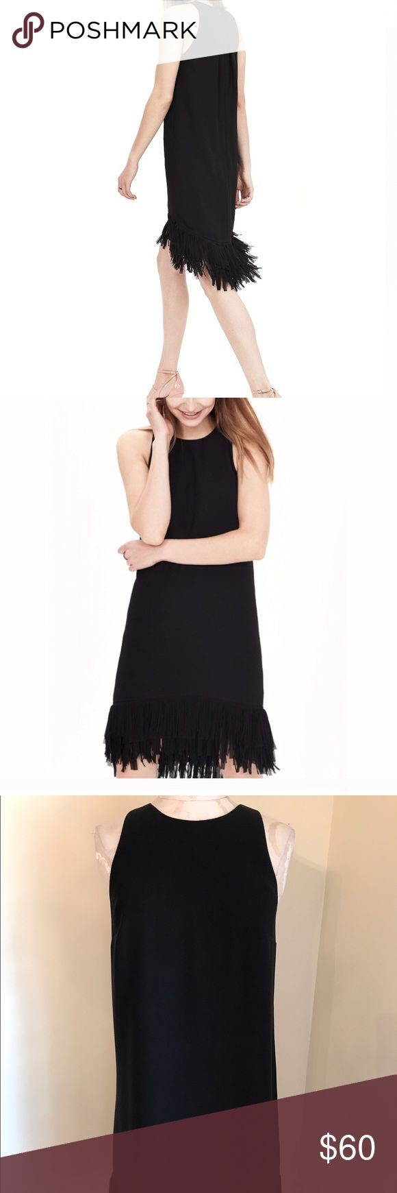 Banana Republic Black Fringe Dress 2 Banana Republic SOLD OUT black fringe sleeveless dress. Lined & zips up back hidden zipper. Pleated in back. Size 2. Bought new and wore once. Retailed $198.00. Perfect condition. Nonsmoking home. The high-low hem gives the black cocktail dress a playful feel. Pair with a pair of standout pumps. An easy black dress you will continue to pull out of your closet. Banana Republic Dresses High Low