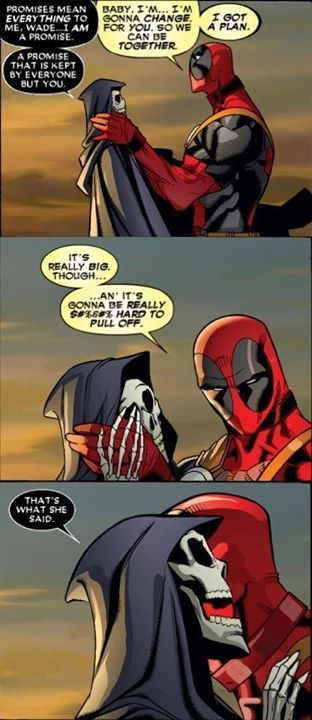 Bwahahahaha!!!! I LOVE the last panel! Deadpool flirting with Death.  Don't tell Thanos.