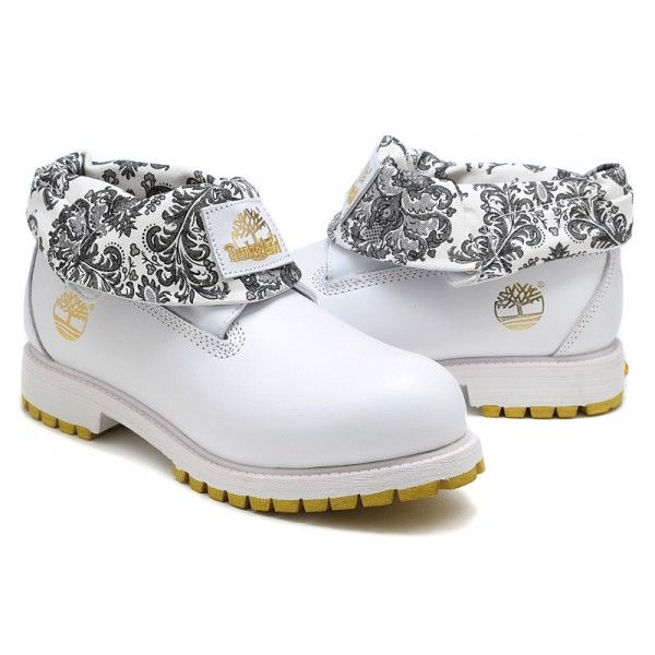 white timbaland boots | Timberland Men's Roll-Top Boots 57559 White