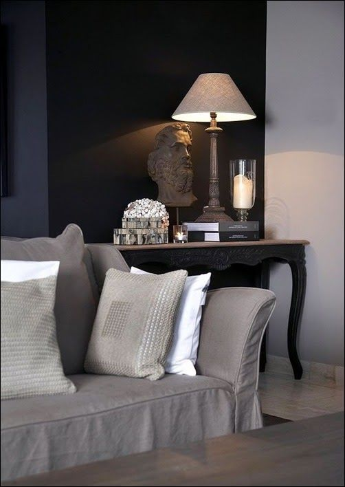 Rich velvety black feature wall
