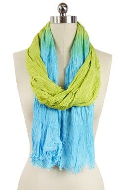 Saachi Crinkled Ombre Scarf - Turquoise Lime