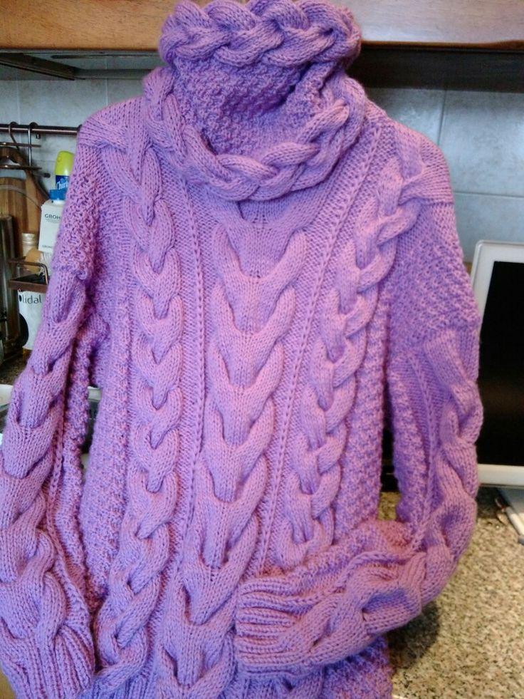 Вязание спицами. Свитер из мериносовой шерсти.