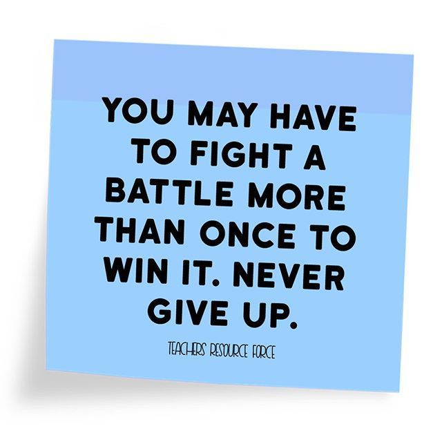 "Still feeling really inspired from my resilience resource! This is a fab quote that is so true - we may not always ""win"" the first time round, but if we keep trying and never give up, eventually we will! Resilience is such an incredible quality to be developing in our students! 💪"