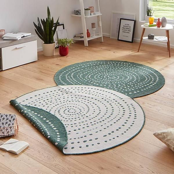 Dot Interieur Rond Vloerkleed Twin Dot - Groen/creme | Interieur | Pinterest