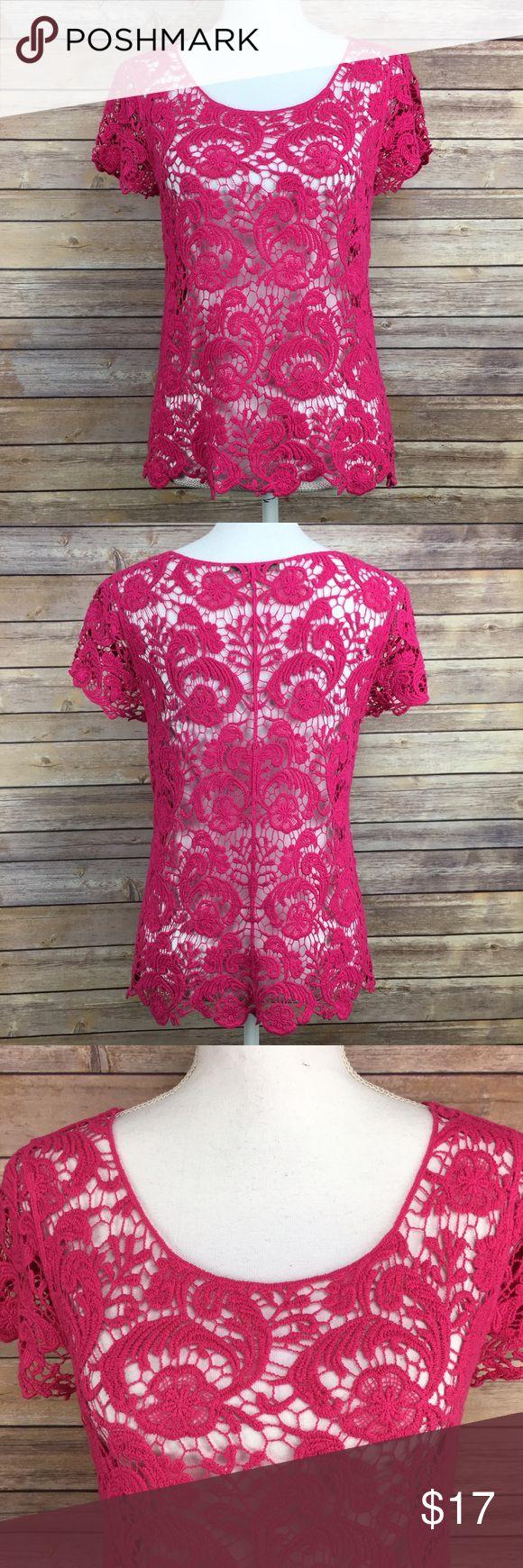 Lauren Conrad pink lace top Lauren Conrad pink lace top. Size xs. 100% cotton.  (SS1). LC Lauren Conrad Tops Blouses