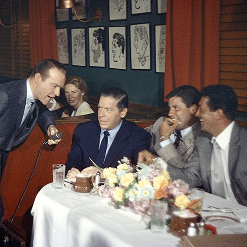 Ralph Edwards, Milton Berle, Jerry Lewis, and Dean Martin on This Is Your Life at The Brown Derby, c. 1956.