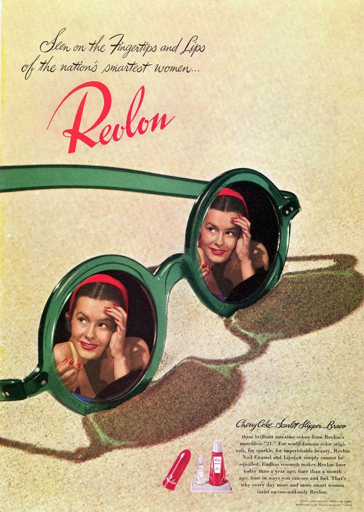 "Revlon ~ ""Seen on the Fingertips and Lips of the nation's smartest women..."""