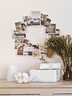 love this wreath!  old family photos