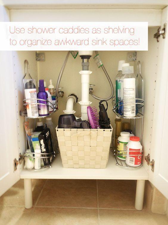 12 Genius Storage Tricks For A Tiny Bathroom   Shower Caddy