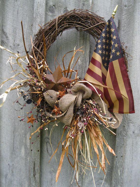 Americana Wreath...grungy flag & rusty star.